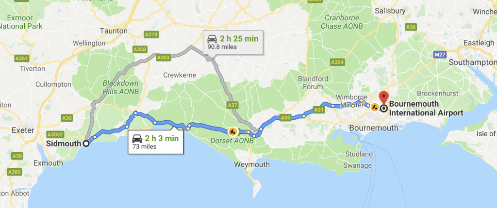 Taxi from Sidmouth to Bournemouth Airport Route